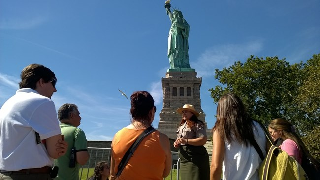 Visitors at Statue of Liberty